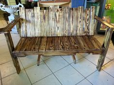 Bench made from salvaged pallets.