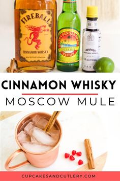 This Cinnamon Whisky Moscow Mule Recipe is full of flavor with a touch of spice! It's a great cocktail idea for Valentine's Day or any winter holiday! Refreshing Cocktails, Easy Cocktails, Yummy Drinks, Cocktail Recipes, Easy Mixed Drinks, Cinnamon Whiskey, Moscow Mule Recipe, Aromatic Bitters, Alcohol Recipes