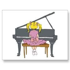 Shop little girl playing piano postcard created by geekme.