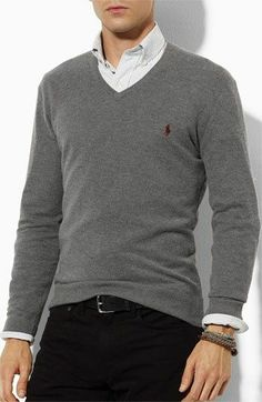V-neck jumper outfit