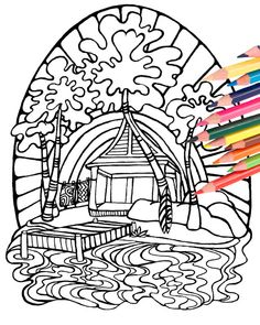 Tiki Surf Hut Coloring Page Digital Download By MellowMermaid