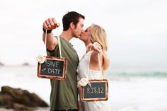 My fiancé proposed on a beach, so I would consider this cute save-the-date idea.