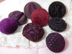 RESERVED - Maroon Colored Fabric Antique Buttons - 8