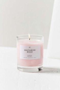 Gourmand Candle in Macaron Rose, a beautiful millennial pink colour. Rose Candle, Candle Jars, Candle Shop, Bougie Candle, Candle Gifts, Candle Holders, Macarons Rose, Bougie Rose, Home Spray