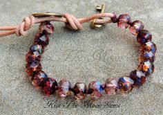Knotted Czech Glass Bracelet in Shades of Purple