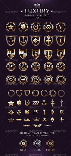 Vector Luxury VIP Design Elements Set 3 by subtropica 25 already made strong graphic emblems 31 components, that you can mix in numerous combinations! Luxury Logo Design, Fashion Logo Design, Web Design, Vector Design, Branding Design, Poster Text, Boutique Design, Grafik Design, Logo Nasa