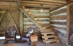 Sharing my obsessive love of rustic cabin life through photos and art I have collected. Sauna Design, Log Cabin Living, Building Stairs, Rustic Home Design, Cabin Kits, Pole Barn Homes, Lodge Style, Basement Stairs, Cabin Interiors