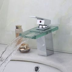 Fine Quality Waterfall Square Glass Bathroom Basin Sink Mixer Tap Chrome Faucet Deck Mounted Polished Chrome Basin Sink Faucets