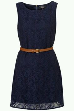 Love this!!Dark blue dress with brown wedges