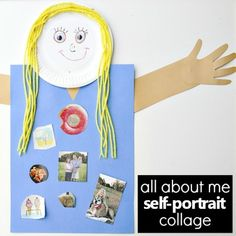 All About Me Self-Portrait -Preschool Favorites and Get to Know You Activity for Back to School All About Me Preschool Theme, All About Me Crafts, All About Me Art, Preschool Art Projects, Preschool Lessons, Preschool Crafts, Preschool Classroom, Get To Know You Activities, All About Me Activities