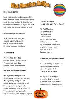 Sint maarten liedjes/ tekst