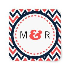 Modern Chevron (Coral and Navy) Wedding Monogram Square Sticker