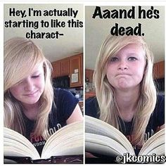 Things You'll Relate to If Your Favorite Book Character Died Bookworms will understand these funny memes about grieving a book character's death.Bookworms will understand these funny memes about grieving a book character's death. Funny Relatable Memes, Funny Quotes, Funny Humor, Most Hilarious Memes, Humor Humour, Funny Comebacks, Humor Quotes, Funny Tweets, A Funny