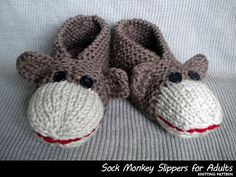 Knit Monkey Slippers. I would never buy this pattern but I think it is simple enough to figure out how to make a basic slipper pattern look like a sock monkey!