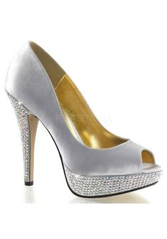 5 Inch Heel 1 Inch Platform Peep Toe Pump With Rhinestone On Platform And Heel Silver Satin8 * Clicking on the VISIT button will lead you to find similar product