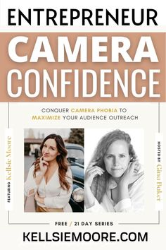 kellsie_moore 100% FREE ONLINE TRAINING: ENTREPRENEUR CAMERA CONFIDENCE 📷 In this 💯 FREE LIVE training, you'll join myself and 20 experts including professional videographers, confidence trainers, popular television anchors who are going to show you how to overcome insecurities, low confidence, fear, and the mindset that holds you back from sharing your message online.  GET YOUR FREE TICKET NOW! entrepreneur,businessentrepreneur,lifeoncamera,bossmom,womensupportingwomen,businesscoaching Marketing Software, Affiliate Marketing, Online Marketing, Social Media Marketing, Confidence Building, Low Confidence, Business Checks, Business Tips, Phobias