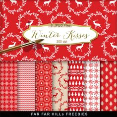 New Freebies Kit of Christmas Background - Winter Kisses:Far Far Hill - Free database of digital illustrations and papers