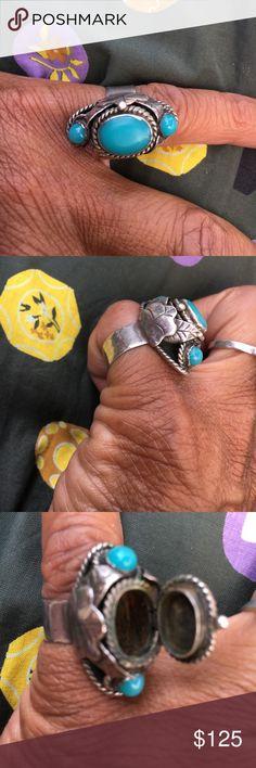 Vintage Sterling turquoise ring Vintage stamped turquoise poision ring Vintage Jewelry Rings