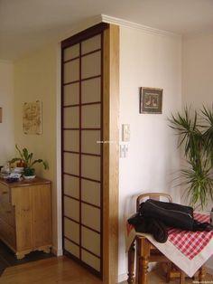 Vue de la fa ade avec les portes japonaises cloison japonaise coulissante e - Fabriquer cloison japonaise ...