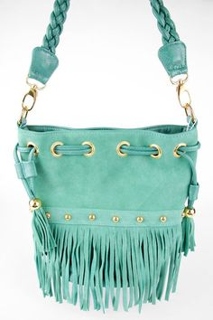 Joia Braided Fringe Bucket Bag.