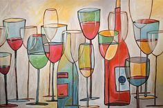 Original abstract wine art for your home or business! Not a print. Upscale and modern, large beautiful handmade painting ready to hang and enjoy right out of the box. If you click on each main image, it will open up a new window with a larger view to see even more detail.