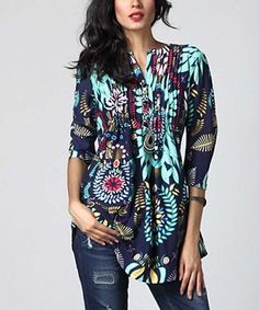 Look what I found on #zulily! Blue Floral Notch Neck Pin Tuck Tunic #zulilyfinds