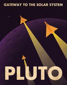 Poster di viaggio planetario retrò di Plutone