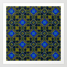 #Retro #Blue and #Yellow #Fractal #Pattern #Art #Print and #Gifts on #society6 by Hippy Gift Shop - $16.64