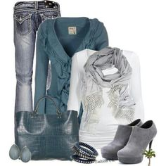 Have button down in teal, jeans, white long/t shirt, gray scarf and gray boots