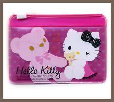 Sanrio Hello Kitty Pink Teddy Bear Card Holder zip bag i love it!!!!!