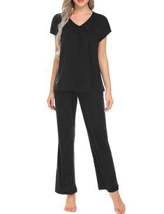 afdd3e6856 Sleepwear Women s Loose Pajama Set PJ Top With Long Pants S-XXL - Black -  C2188TOQKY6