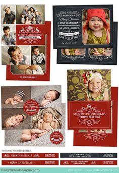 Christmas Card Template for Photographers Photo Card Template HC21215