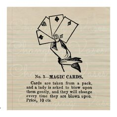 Digital Download Vintage Magic Cards Magic Trick by ChangingVases, $1.50