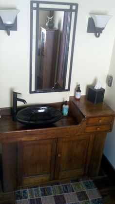 Antique Dry Sink From A Great Aunt Became A Wet Sink In This Powder Bath.  Granite Wash Bowl And Fixtures From An Overstock Supplier.
