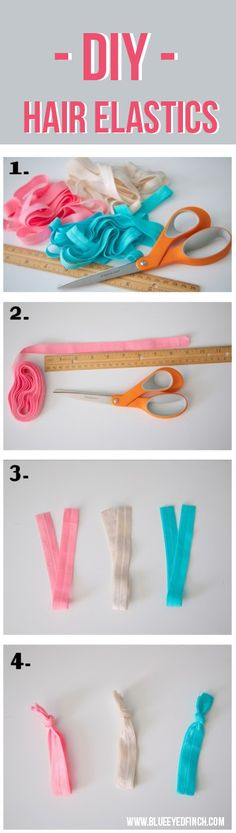 Lovely elastic bands for your hair! tutorial, step by step to learn how to make them.