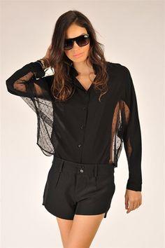 Lace Dolman Top - Black