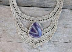 Woman Amethyst necklace Healing crystal necklace Bib by AmorArt