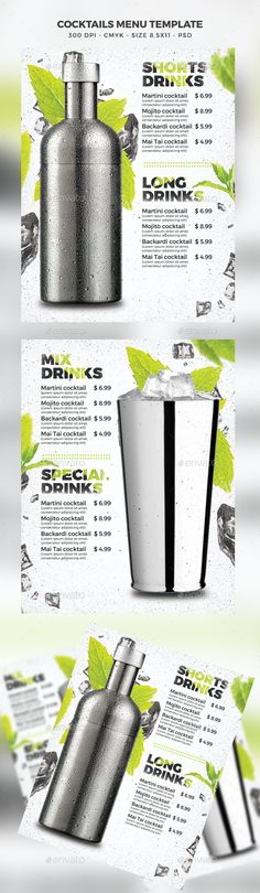 Cocktail Drinks Menu — Photoshop PSD #bartender #nightclub • Download ➝ https://graphicriver.net/item/cocktail-drinks-menu/19635574?ref=pxcr