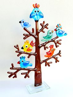 Fused glass tree with birds Color glass birds Glass