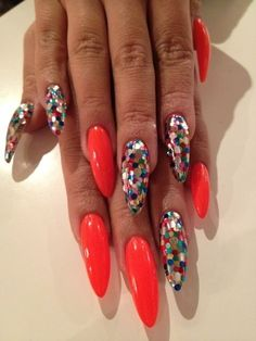 Oranje, stiletto, glitters