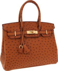 Hermes 30cm Cognac Ostrich Birkin Bag with Gold Hardware