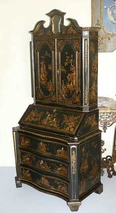 Fine, English, George I style, chinoiserie, fall-front secretary: In black lacquer, painted and parcel gilded.  Late 19th or early 20th century.