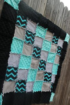 Black, Aqua & Gray Rag Quilt Blanket! Perfect baby shower gift or birthday present! Would be ADORABLE baby nursery crib bedding/blanket! on Etsy, $75.00