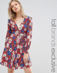 Glamorous Tall Long Sleeve Plunge Front Floral Skater Dress