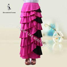 Sharon Tang modest Apparel Long Pink Black Stretch Ruffle Layer Maxi Skirt