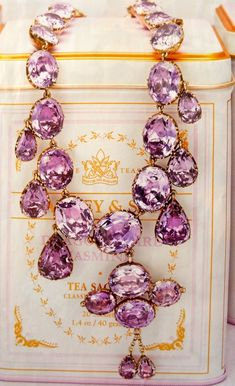 Stephen Russell Gold & Amethyst necklace ca 1850, featured in Town & Country Magazine via slimpaley.com