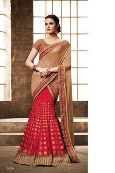 Red Bhagalpuri silk Bridal Lehenga Saree