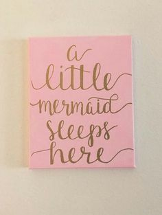 A little mermaid sleeps here, Canvas Sign, Custom Canvas Sign, Nursery Sign, Girls Room Sign - Nursery Signs, Room Signs, Nursery Decor, Wall Decor, Baby Mermaid, The Little Mermaid, Little Mermaid Nursery, Mermaid Canvas, Mermaid Sign