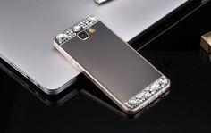 For Samsung Galaxy J3 J5 J7 S7 Edge S6 A3 A5 A7 Grand Prime Mirror Case Cover Soft TPU Bling Rhinestone Diamond Phone Cases