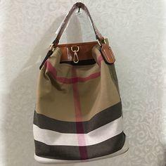 9c963058be AMONCHY Classic Plaid Kvinders Håndtasker Mærke Logo Bucket Bag Høj  kvalitet Canvas   Leather Shoulder Messenger Tasker Stribet Tote Bags